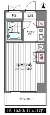 間取図/区画図:大きな収納スペース付きの1Kマンションです。