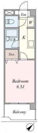 間取図/区画図:収納スペースもついた使いやすい1Kタイプです。