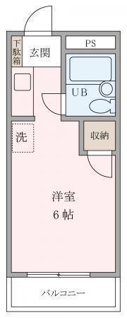 間取図/区画図:南向き、陽当たり良好なワンルームタイプのお部屋です。