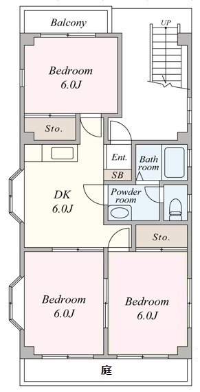 間取図/区画図:全居室2面採光の3DKです。