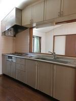キッチン:対面式システムキッチン、ガス式3口コンロ